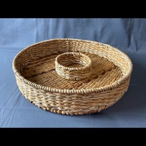 Round Tan Chip and Dip Server Wicker Woven Basket